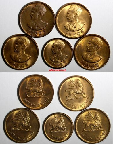 Ethiopia Copper LOT OF 5 COINS EE1936(1943-1944) 1,5 Cent RED BU KM# 32,33