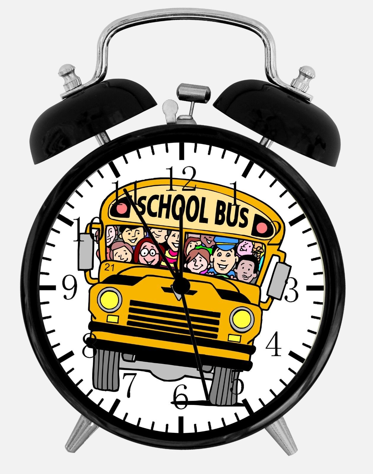 "School Bus Alarm Desk Clock 3.75"" Home or Office Decor W203 Nice For Gift"