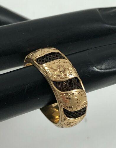 Antique Victorian 14K Yellow Gold Mourning Hair Swirl Wide Ring Ella Dec 31 1869