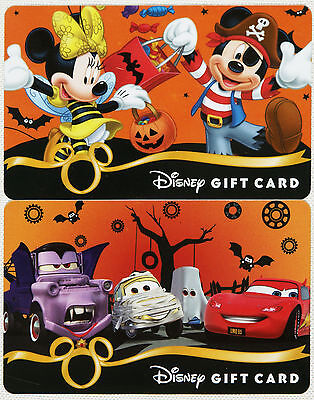 2 Disney Halloween Gift Cards 2012 Mickey/Minnie, Lightning McQueen/Mater/Luigi+ - Disney Halloween Gift Cards