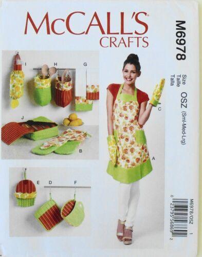 McCalls 6978 Misses Aprons Potholders Towels Mitt Basket Sewing Pattern Sz S-M-L