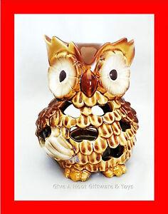 Ceramic-Owl-Tea-Light-Candle-Holder-T-Light-Tealight-Glazed-Brown-Tones-C277A