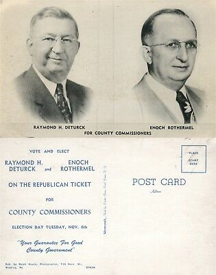 County Commissioners Election Day Political Vintage Postcard