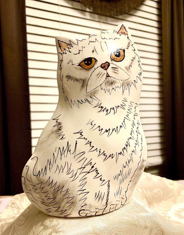 "Beautiful CATS By NINA CERAMIC VASE Nina Lyman White Persian Cat 8"" Vase - 2001"