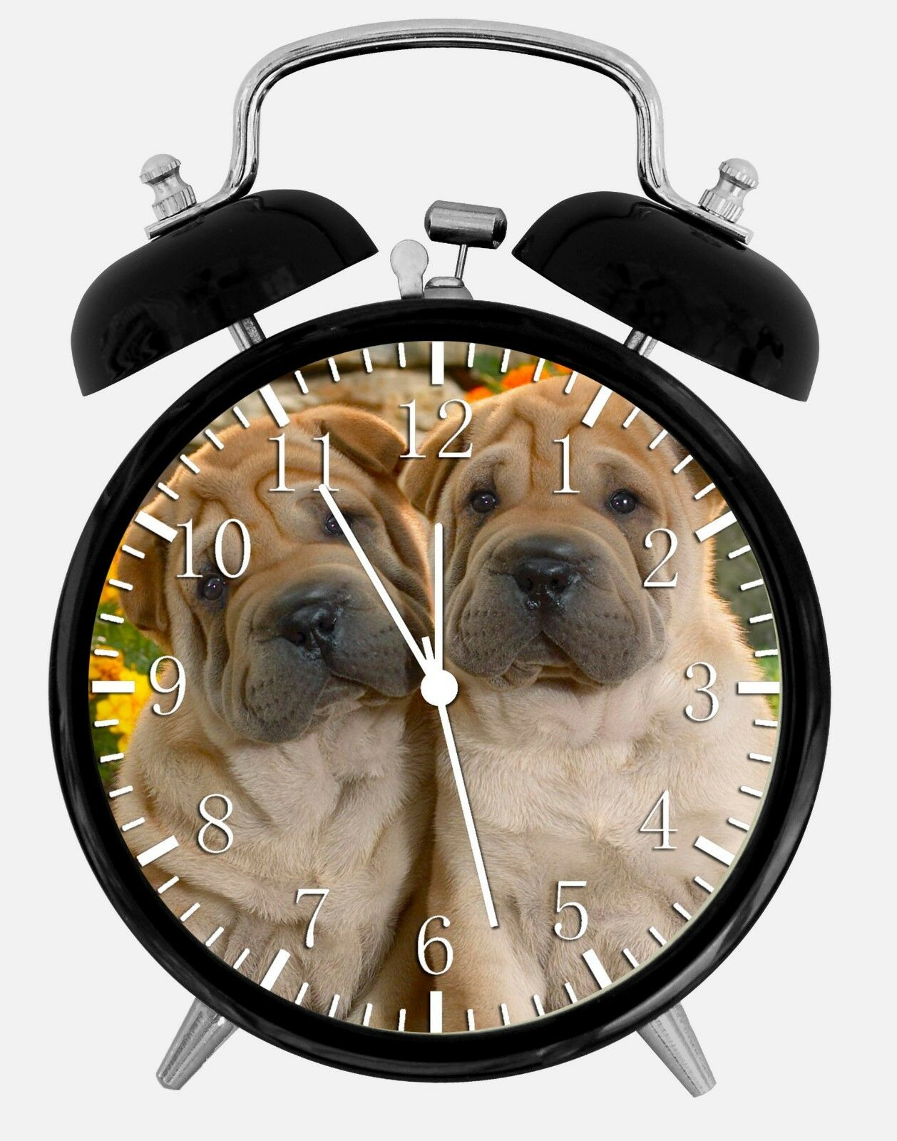 "Cute Shar Pei Alarm Desk Clock 3.75"" Room Office Decor W262 Nice For Gift"