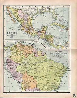 1903 MAP ~ MEXICO & CENTRAL AMERICA ~ NORTHERN SOUTH AMERICA BRAZIL BOLIVIA