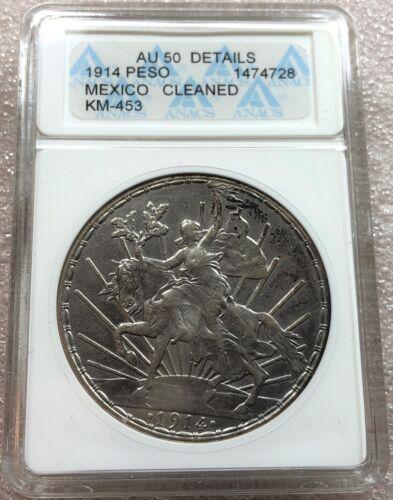 Mexico 1914 Caballito Silver UN Peso Anacs Graded AU 50 Details KM-453 Rare Date