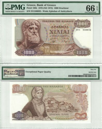 GREECE 1000 Drachmai 1970 Pick# 198b PMG: 66 EPQ Gem UNC. (#2321)