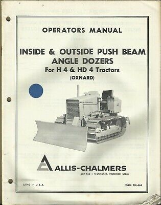 Allis-chalmers Angle Dozers Inside Outside Push Beam H4 Hd4 Tractors Manual