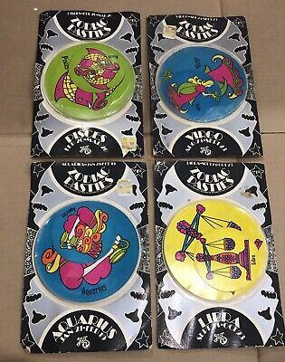 4 Zodiac Pasties Stickers 1970s Vintage Libra Aquarius Pisces Virgo Lot