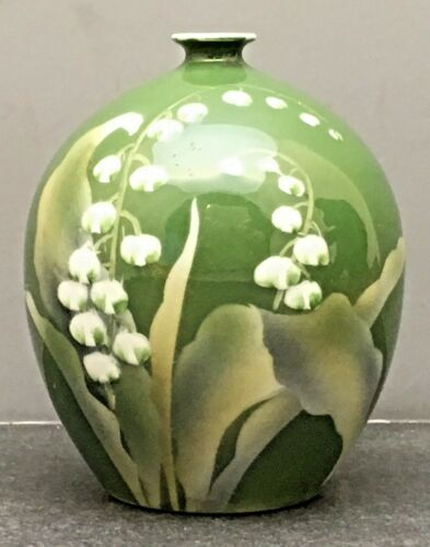 Japanese Meiji Studio Porcelain Vase with Lily Of The Valley by Enji Nishiura