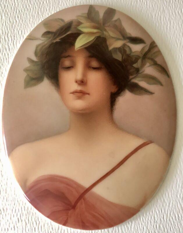 Antique Wagner Porcelain Plaque Painting Daphne Lichtenberg Max Sinz Dresden KPM