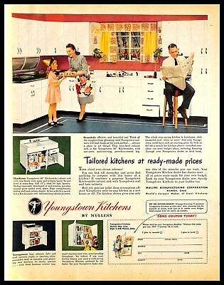 1948 Mullins Youngstown Kitchens Vintage PRINT AD Cabinets Wife Family Art 1940s
