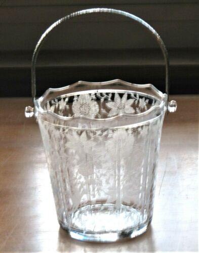 Cambridge Glass WILDFLOWER Etch 3400 Ice Bucket with Hammered Handle