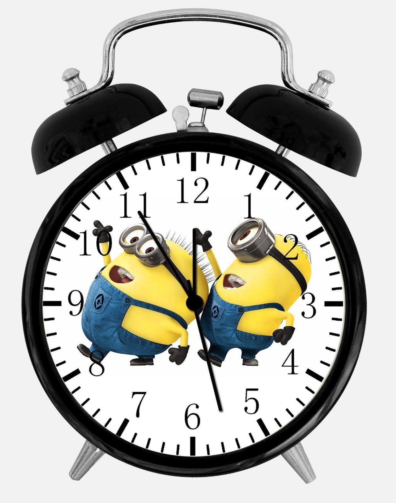 "Cute Funny Minions Alarm Desk Clock 3.75"" Room Office Decor E49 Be A Nice Gift"