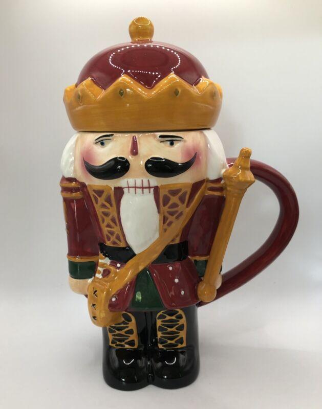 Sakura Christmas lidded mug Nutcracker Soldier Earthenware Mug EXCELLENT