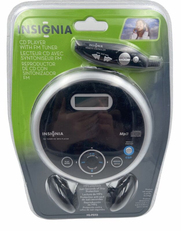 NEW Insignia NS-P5113 Portable CD Player with FM Tuner & Remote, Headset SEALED