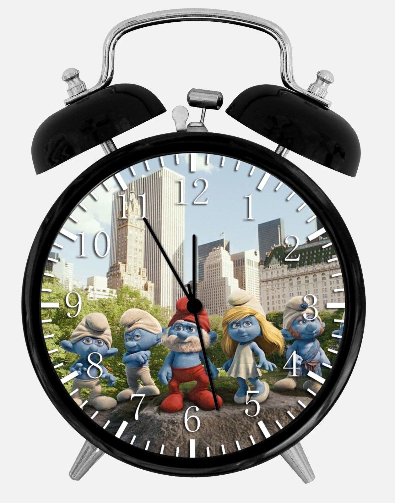 "The Smurfs Alarm Desk Clock 3.75"" Room Office Decor W259 Nice For Gift"