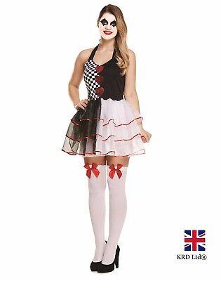 ADULT JESTER EVIL FEMALE COSTUME Ladies Fancy Dress Clown Scary Halloween UK