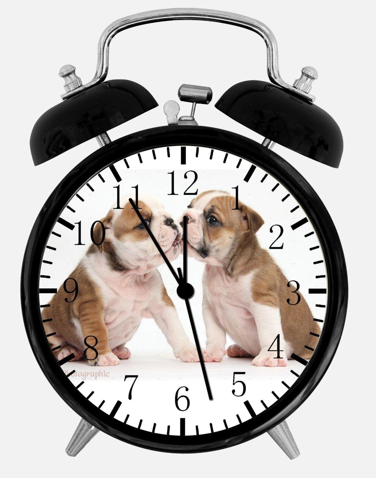 "English Bull Dog Alarm Desk Clock 3.75"" Home or Office Decor E454 Nice For Gift"