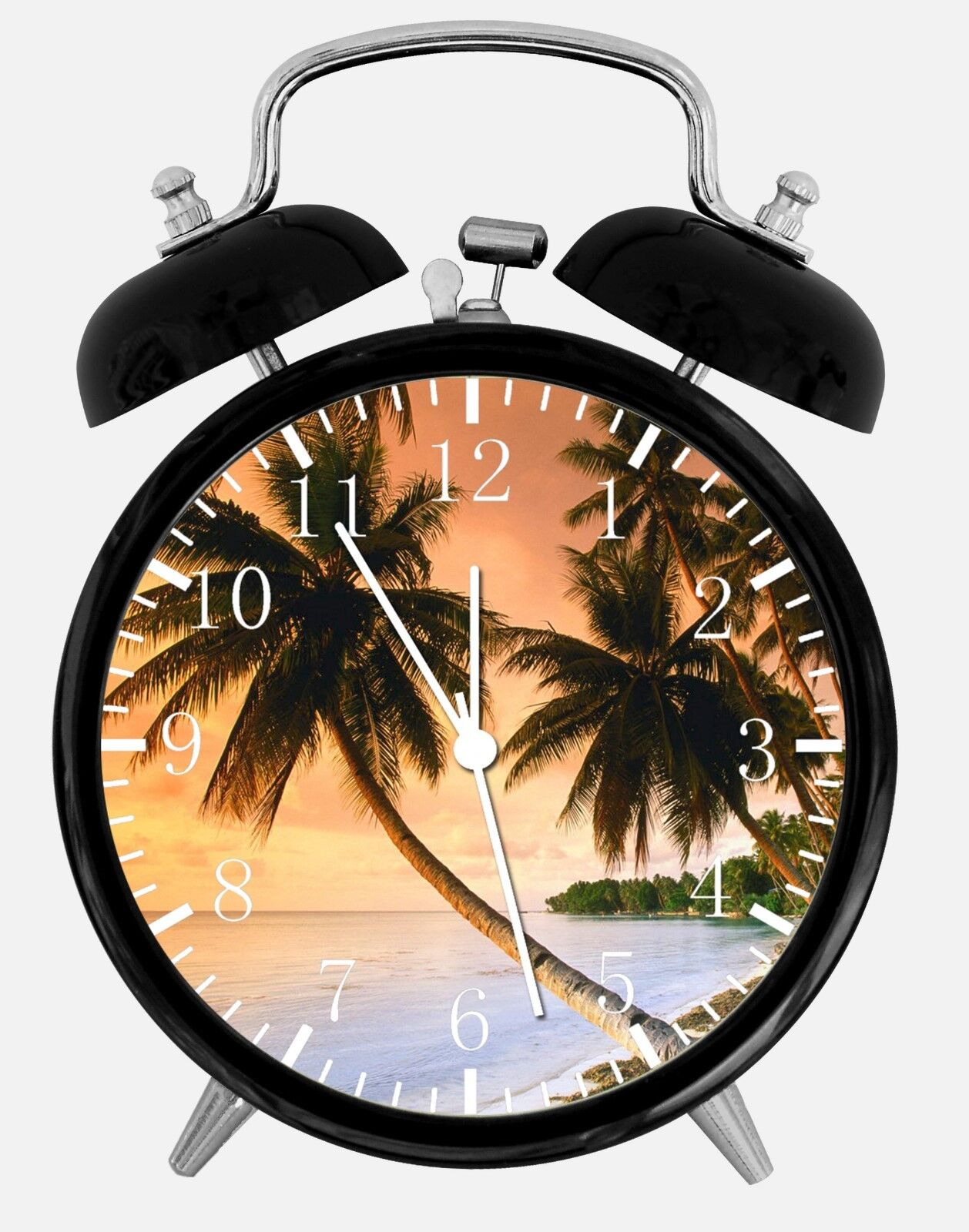 "Palm Tree Sunset Beach Alarm Desk Clock 3.75"" Home Office Decor Y34 Nice Gift"