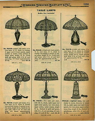 """1926 PAPER AD Electric Table Lamps Art Glass Slag Lighted Base 8 Panel 19.5"""" 24"""""""