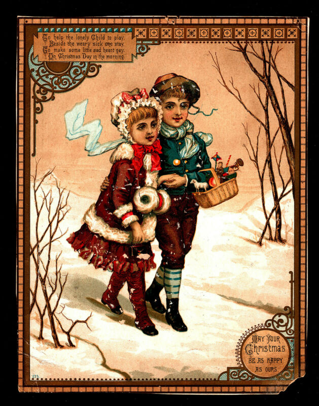"OPC 1881 Victorian Children Christmas Card 9"" x 7"""