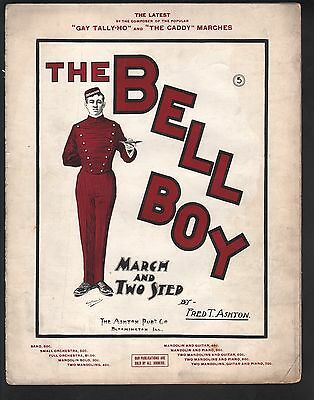 Bell Boy March 1901 Large Format Sheet Music