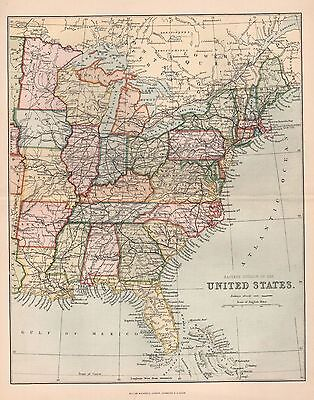 1900 Ca ANTIQUE MAP UNITED STATES EASTERN DIVISION