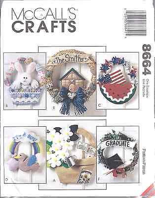 Uncut Mccalls Vintage Nähmuster Saisonale Kränze 8664 Ostern Baby Patriotische