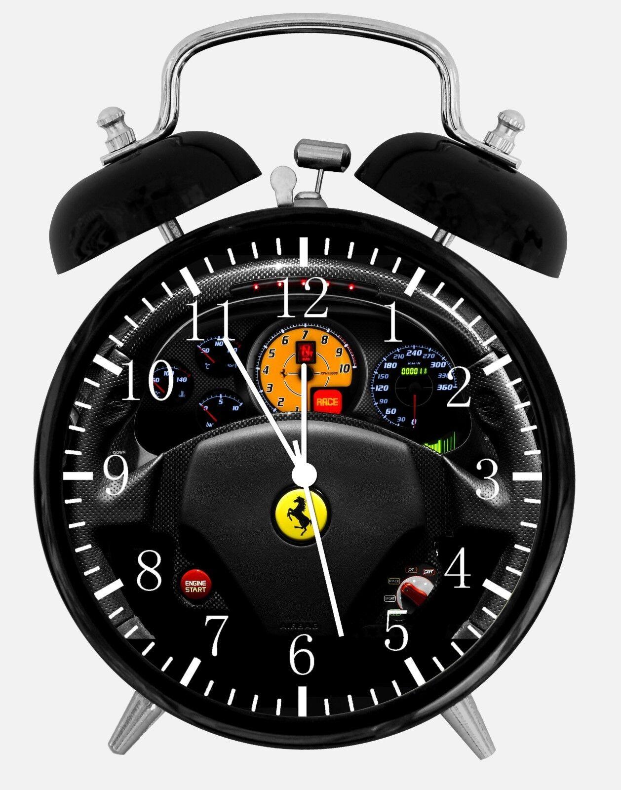 "Super Car Alarm Desk Clock 3.75"" Home or Office Decor W457 Nice For Gift"