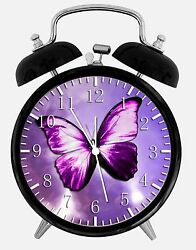 Purple Butterfly Alarm Desk Clock 3.75 Room Office Decor Y02 Nice For Gift