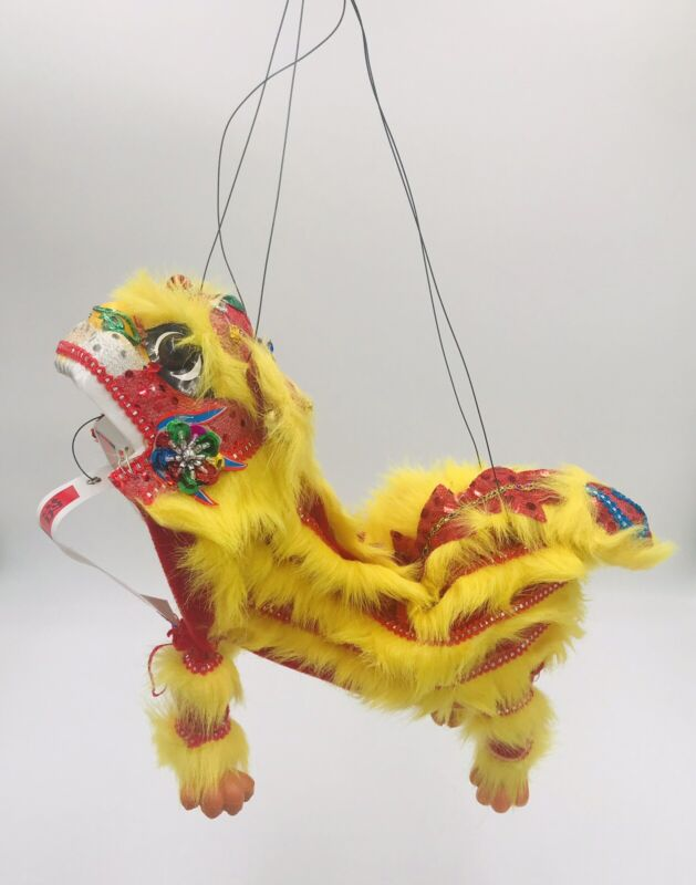 handcrafted Chinese LION DRAGON Marionette Puppet, Hanging Chinese art Decor