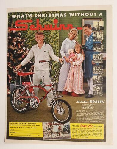 1969 Vintage Original Schwinn Bicycles Apple Krate print ad