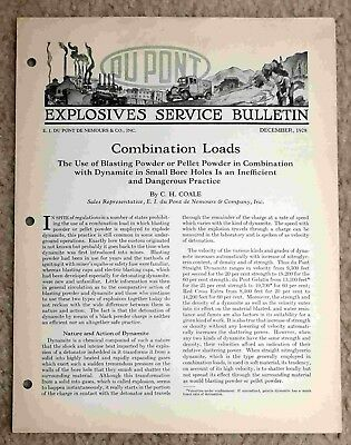 Combination Loads - Du Pont Explosives Service Bulletin