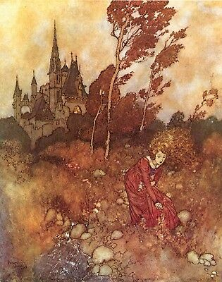 Fairy Tale Postcard: Vintage french repro- Woman Picking Flowers & Herbs, Castle