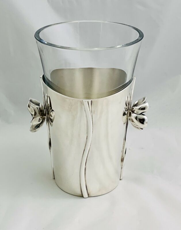 Original Christofle  Art Deco Wine Cooler Silver Plate With Crystal 20th Century