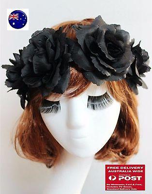 Women BLACK flower Halloween Bride Party Hair Headband Crown tiara Prop Garland