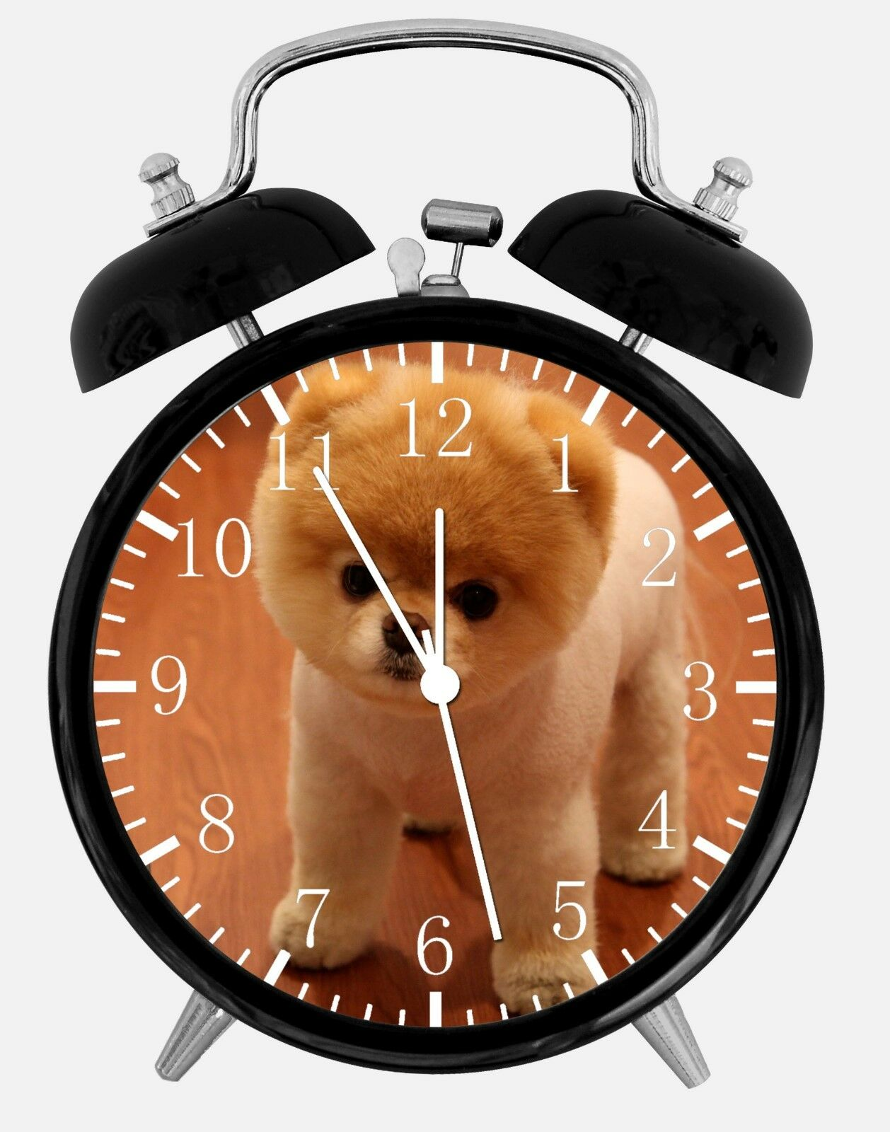 "Cute Pomeranian Alarm Desk Clock 3.75"" Home or Office Decor F10 Nice For Gift"