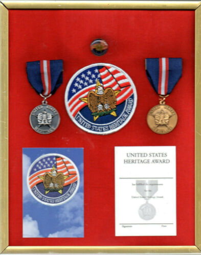 United States Heritage Award mounted display medals patch pin and cards unused