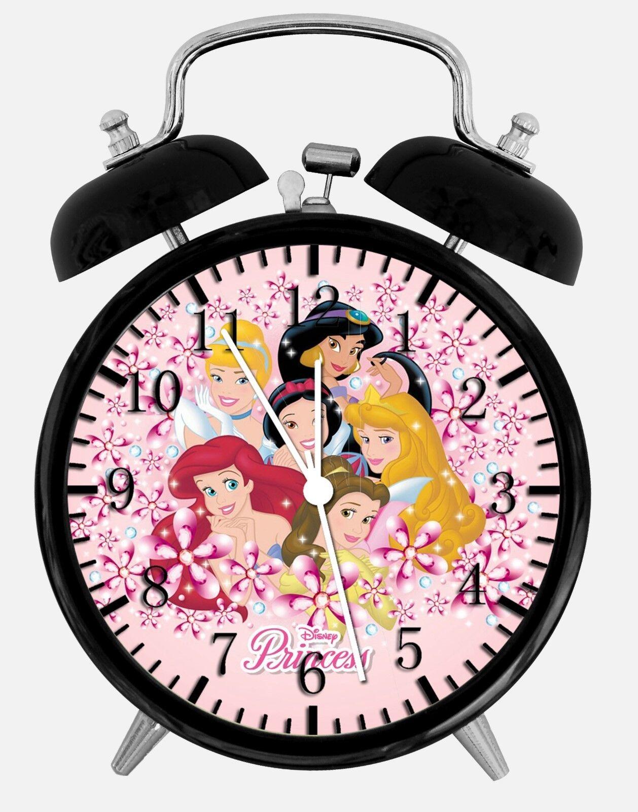 "Disney Princess Alarm Desk Clock 3.75"" Home or Office Decor W236 Nice For Gift"