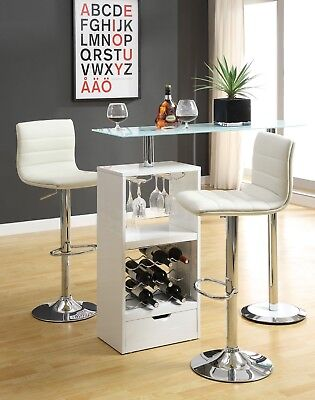 - White Bar Table Wine Rack Glass Top Pub Table Home Freestanding Unit High Gloss