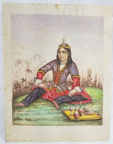 Fine Antique Persian Middle Eastern Watercolor Portrait Miniature Painting