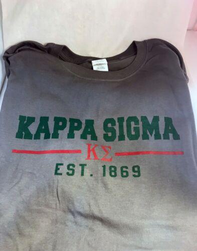 Kappa Sigma Fraternity T-Shirt- Gray- Size Large-New!