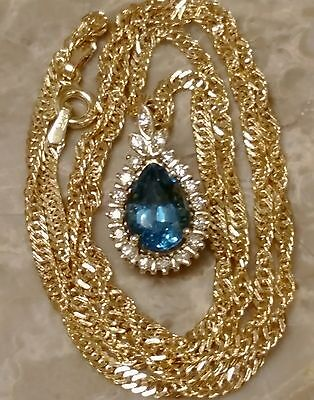 ESTATE 14K YELLOW GOLD NATURAL BLUE TOPAZ & DIAMONDS PENDANT NECKLACE 18""