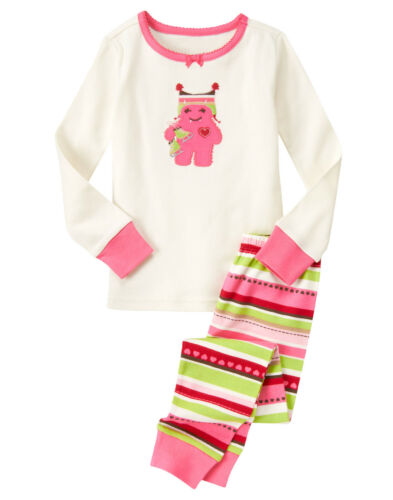 NWT Gymboree Monster Heart Striped Gymmies Pajamas PJs 2T Toddler Girl