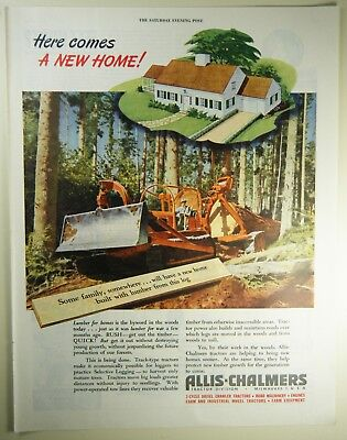 Vintage 1946 ALLIS-CHALMERS TRACTOR Lg Magazine Print Ad NEW HOME CONSTRUCTION