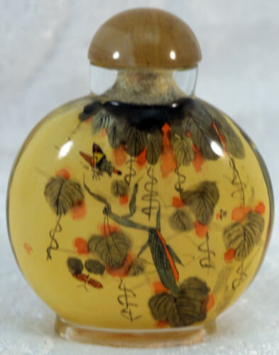 Reverse Painted Glass Snuff Bottle Leaves Flowers and Honey Bees Signed