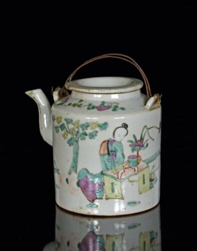 Antique Chinese Multicolored Porcelain Teapot w Padded Basket