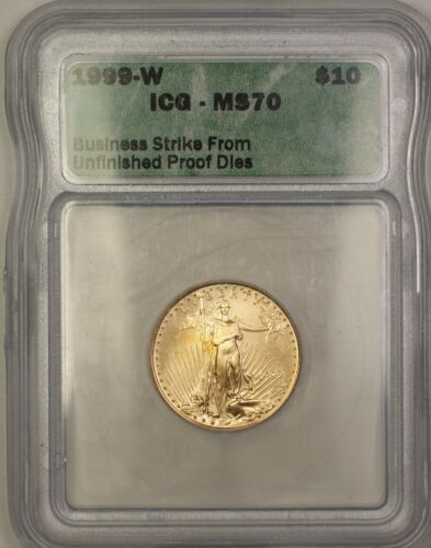 1999-w Emergency Issue $10 Age American Gold Eagle Coin Icg Ms-70 Perfect Gem